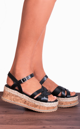Black Corked Wedged Platforms Wedges Strappy Sandals by Shoe Closet