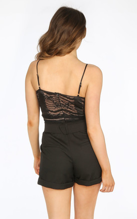 Black Satin And Contrast Lace Bodysuit by Dressed In Lucy