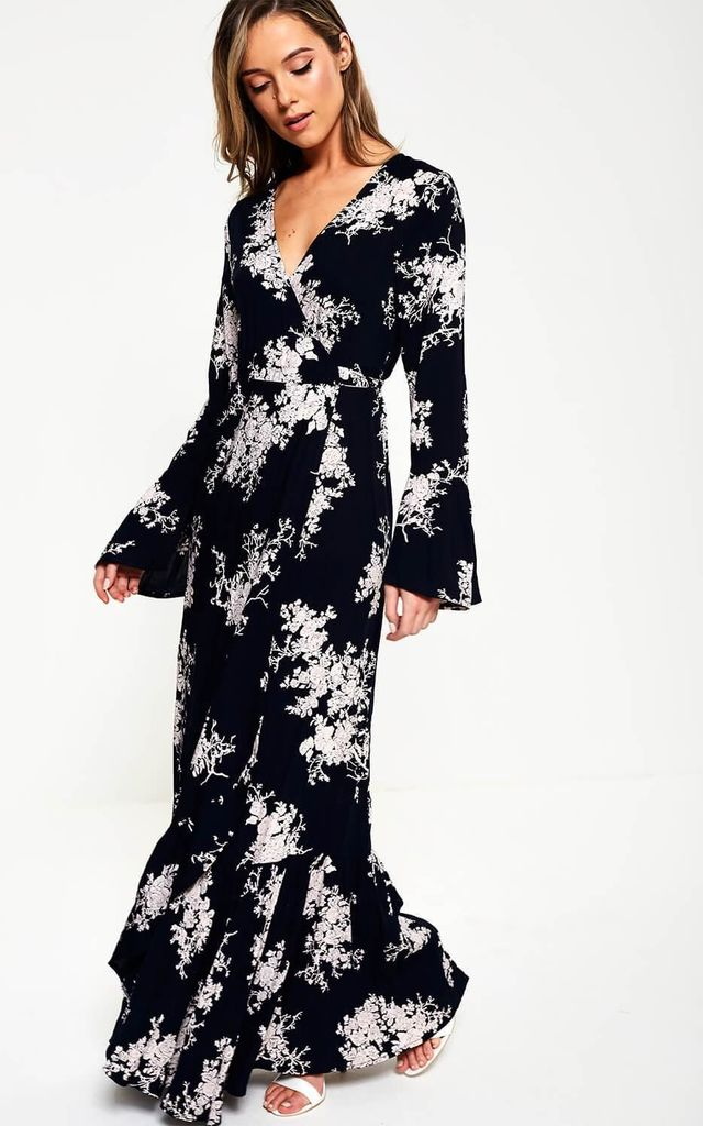Maxi Floral Print Wrap Dress in Navy by Marc Angelo