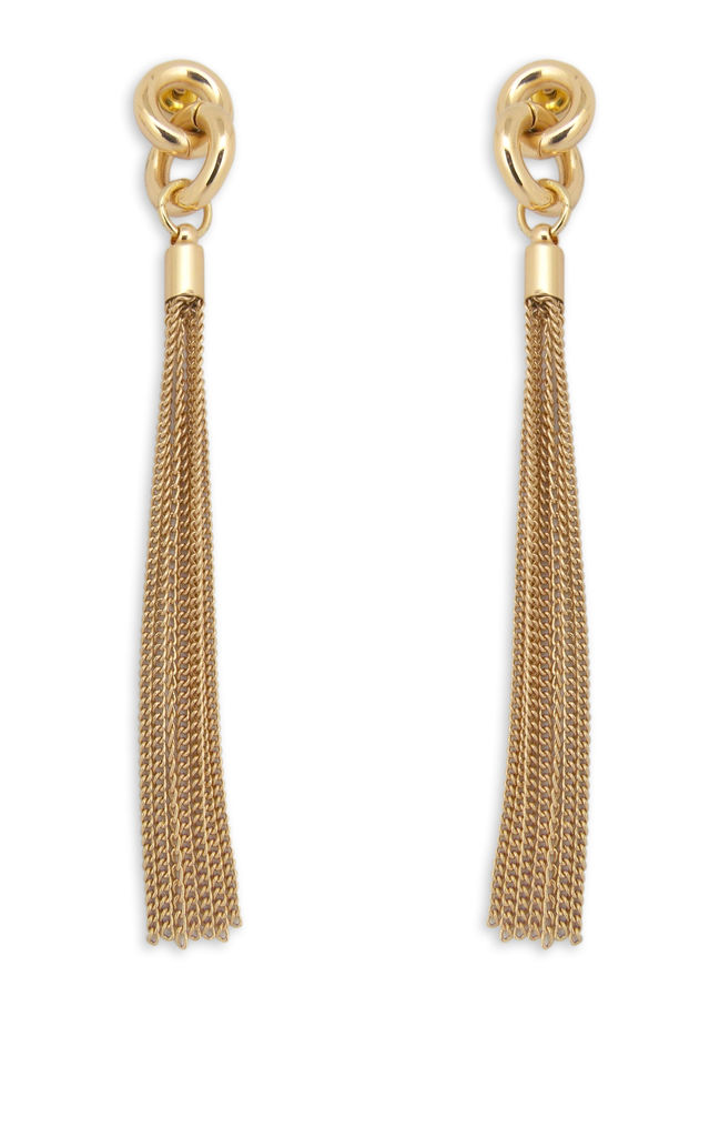 Long Shiny Gold Knot Design With Tassle Earrings by Always Chic
