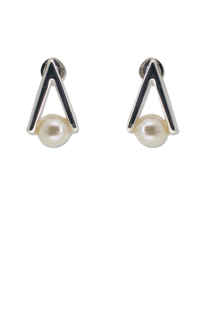 Silver and Pearl Triangle Stud earrings by Always Chic