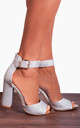 Silver Shimmer Glitter Ankle Strap Block High Heeled Strappy Sandals Heels by Shoe Closet