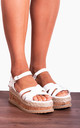 White Corked Wedged Platforms Wedges Strappy Sandals by Shoe Closet
