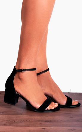 Black Barely There Low Heeled Peep Toes Strappy Sandals Peep Toes Shoes by Shoe Closet Product photo
