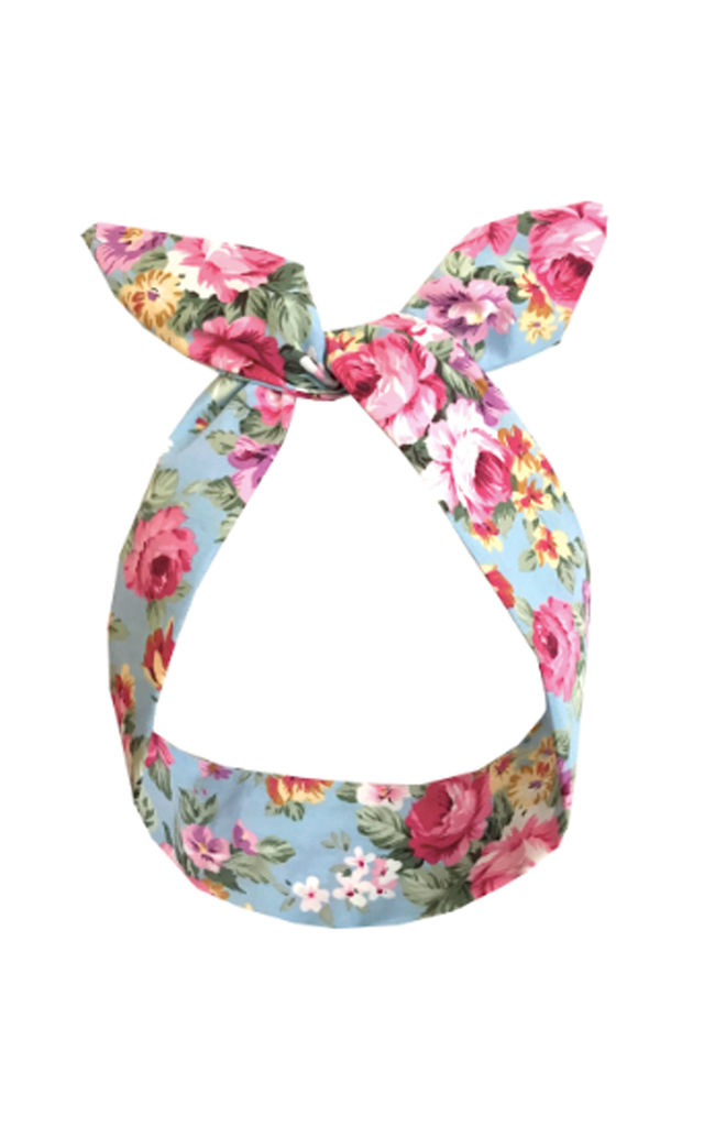 Blue Summer Floral Print Wired Headband by LULU IN THE SKY