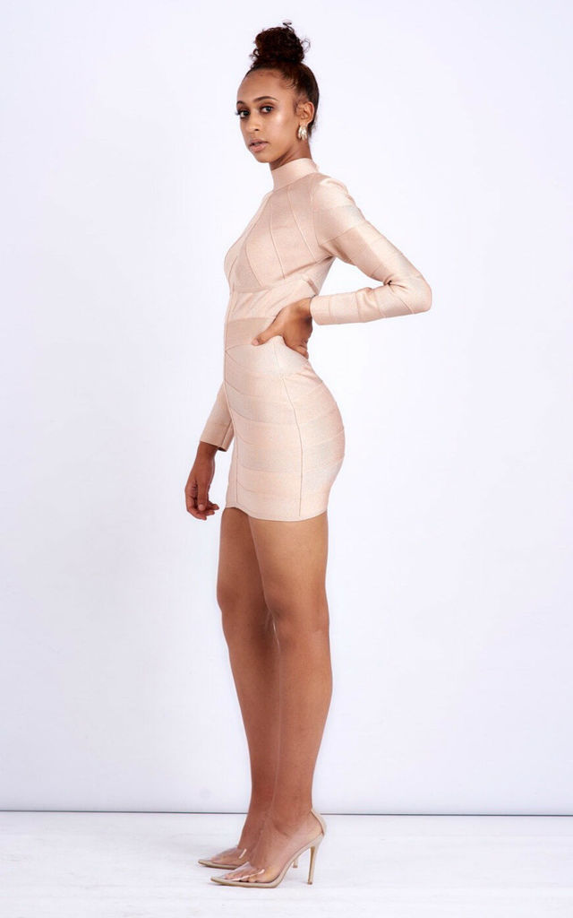 Long sleeve bandage mini dress in champagne by Ineza collection