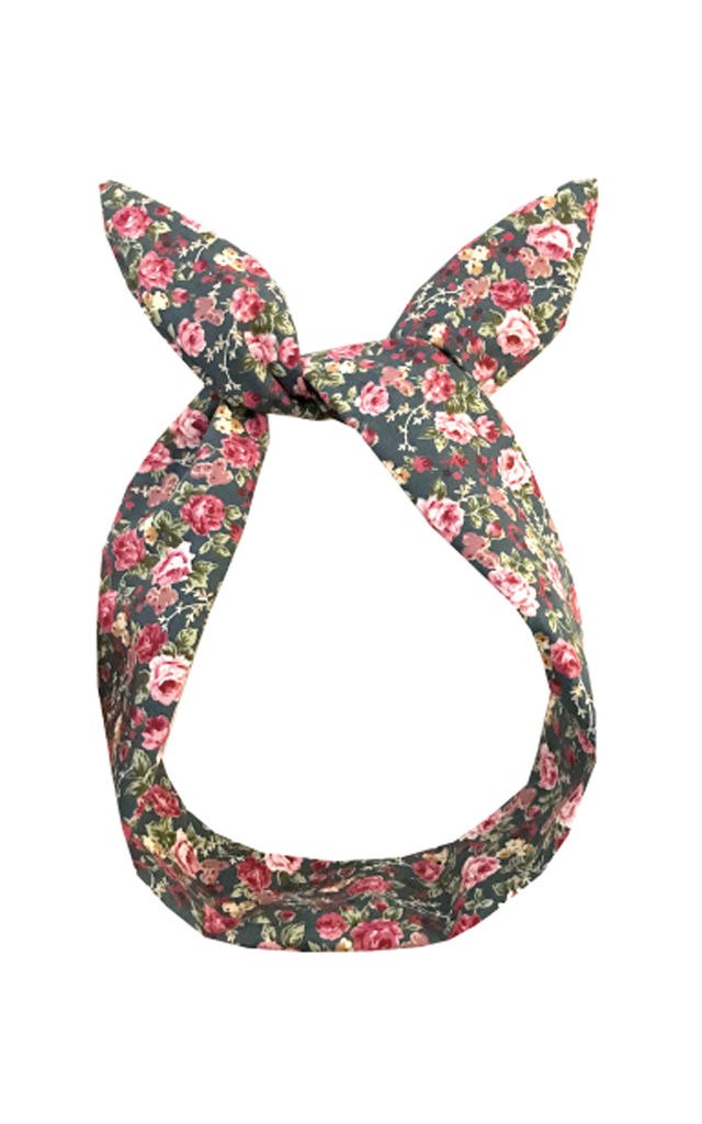 Grey with Pink Ditsy Floral Print Wired Headband by LULU IN THE SKY