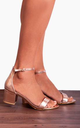 Rose Gold Metallic Barely There Peep Toes Low Heeled Strappy Sandals by Shoe Closet