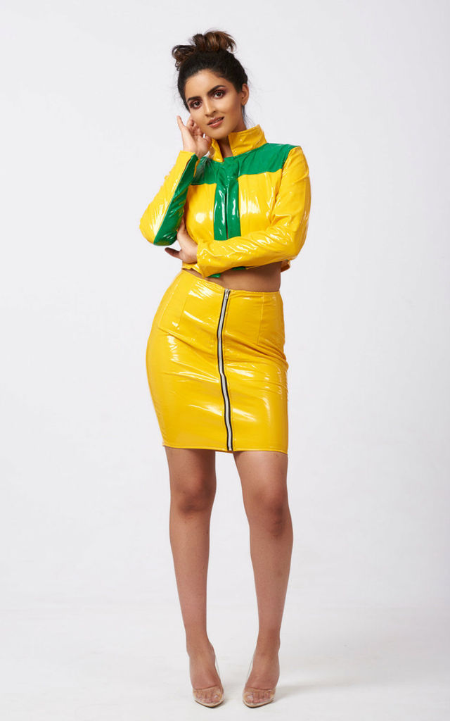 Novah yellow patent skirt and top co-ord set by Ineza collection