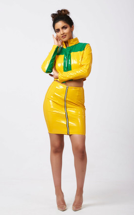 Novah Mini Skirt And Top Co Ord Set In Yellow Patent by Ineza collection Product photo