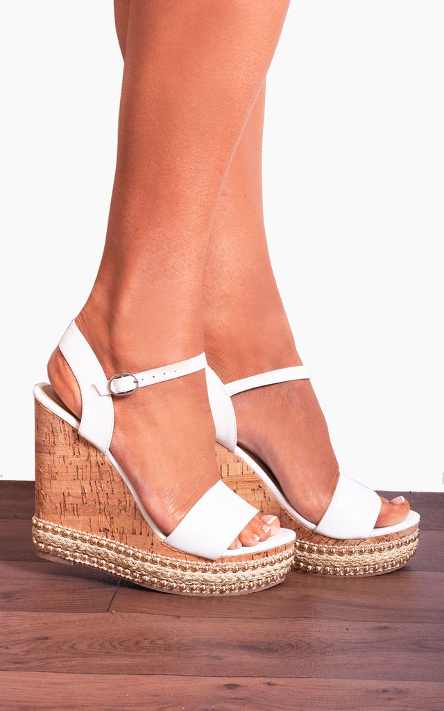 White Cork Wedged Platform Strappy Sandals with Straps Wedges by Shoe Closet