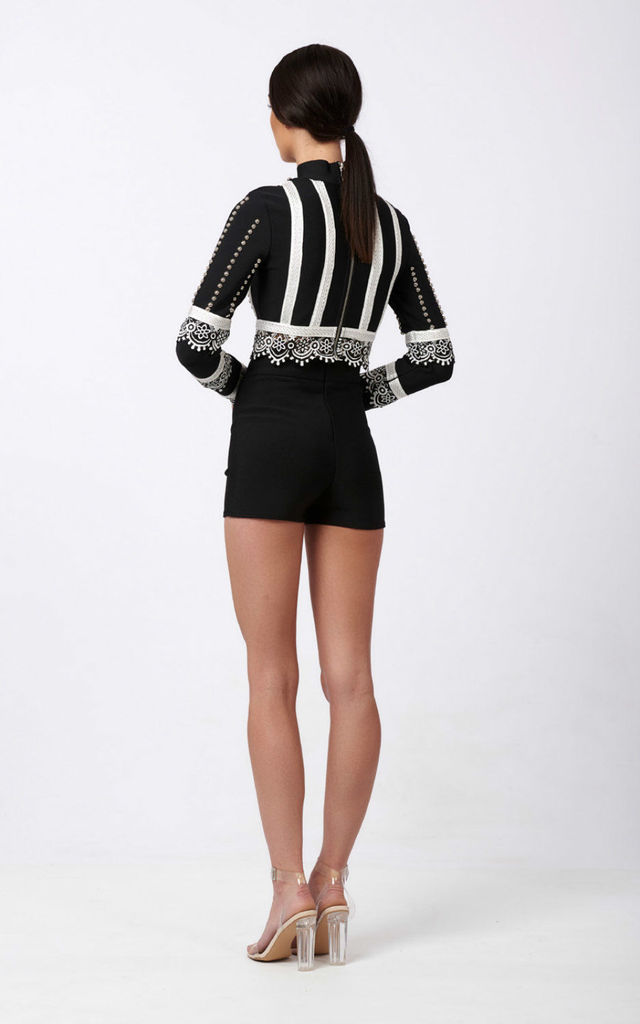Amore embellished top and shorts co-ord Set in black by Ineza collection