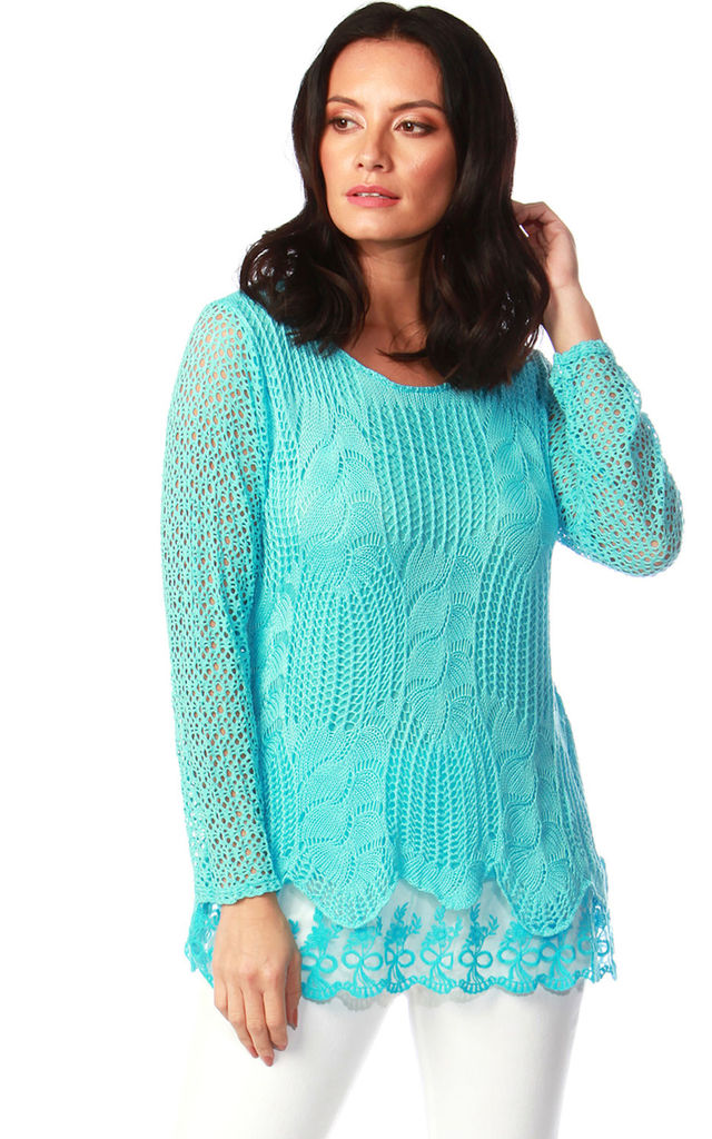Natalie Turquoise Crochet Top by Want That Trend