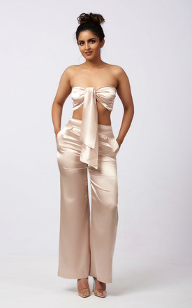 Nyla Satin Bandeau Top And Trouser Co Ord Set In Champagne by Ineza collection Product photo