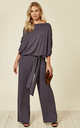 DEE JERSEY JUMPSUIT WITH TIE WAIST IN GREY by EDDI CLOTHING