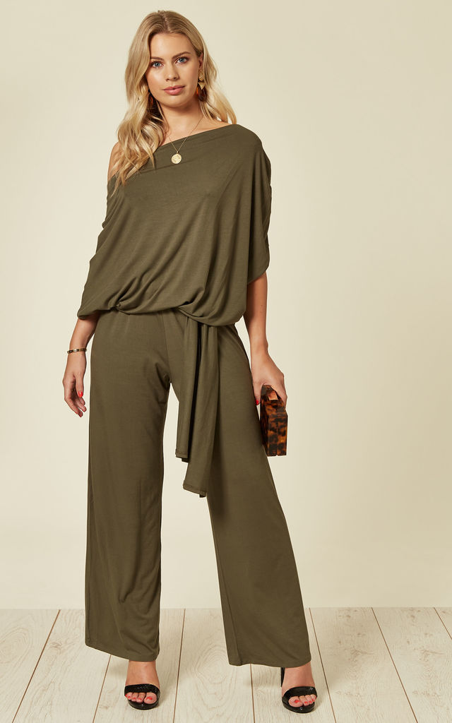DEE khaki JUMPSUIT with tie waist by EDDI CLOTHING