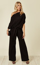DEE JUMPSUIT WITH TIE WAIST IN BLACK by EDDI CLOTHING