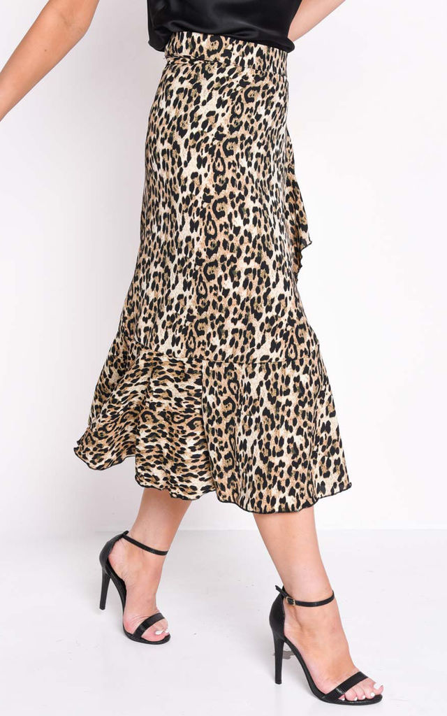 Leopard Animal Print Wrap Ruffle Midi Skirt Multi by LILY LULU FASHION