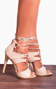 Nude Patent Barely There Ankle Strap Strappy Sandals Stilettos High Heels by Shoe Closet