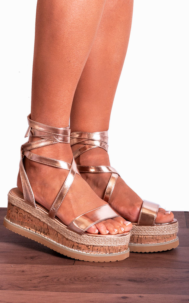 Rose Gold Metallic Canvas Espadrille Wedged Platforms Wedges Strappy Sandals by Shoe Closet