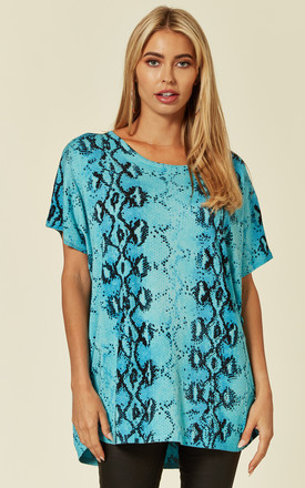 SHORT SLEEVE JUMPER WITH CRYSTAL EMBELLISHMENTS in AQUA SNAKE PRINT by Malissa J Collection