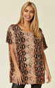 SHORT SLEEVE JUMPER WITH CRYSTAL EMBELLISHMENTS in TAUPE SNAKE PRINT by Malissa J Collection