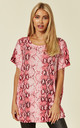 SHORT SLEEVE JUMPER WITH CRYSTAL EMBELLISHMENTS in PINK SNAKE PRINT by Malissa J Collection