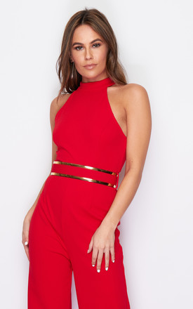 Belle High Neck Wide Leg Jumpsuit With Belt Red by Girl In Mind