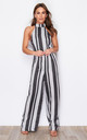 Kady Stripe Spot High Neck Sleeveless Jumpsuit Black Print by Girl In Mind