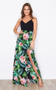 Farah Cami Split Maxi Dress Green Tropical Print by Girl In Mind