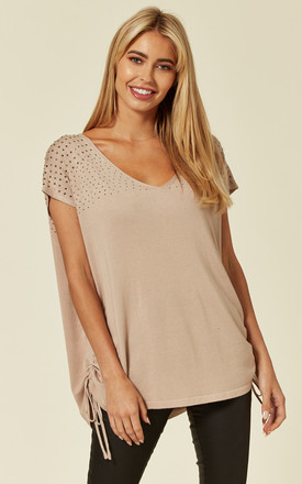 V Neck Short Sleeve Knit Jumper with Bling Shoulder Details in Taupe by Malissa J Collection