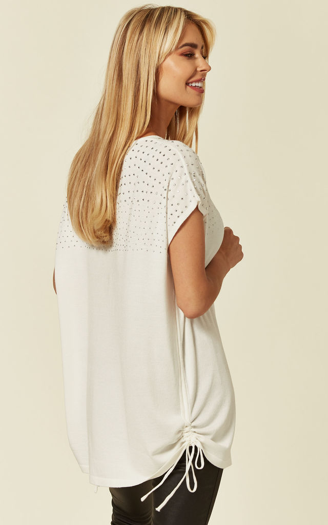 V Neck Short Sleeve Knit Jumper with Bling Shoulder Details in White by Malissa J Collection