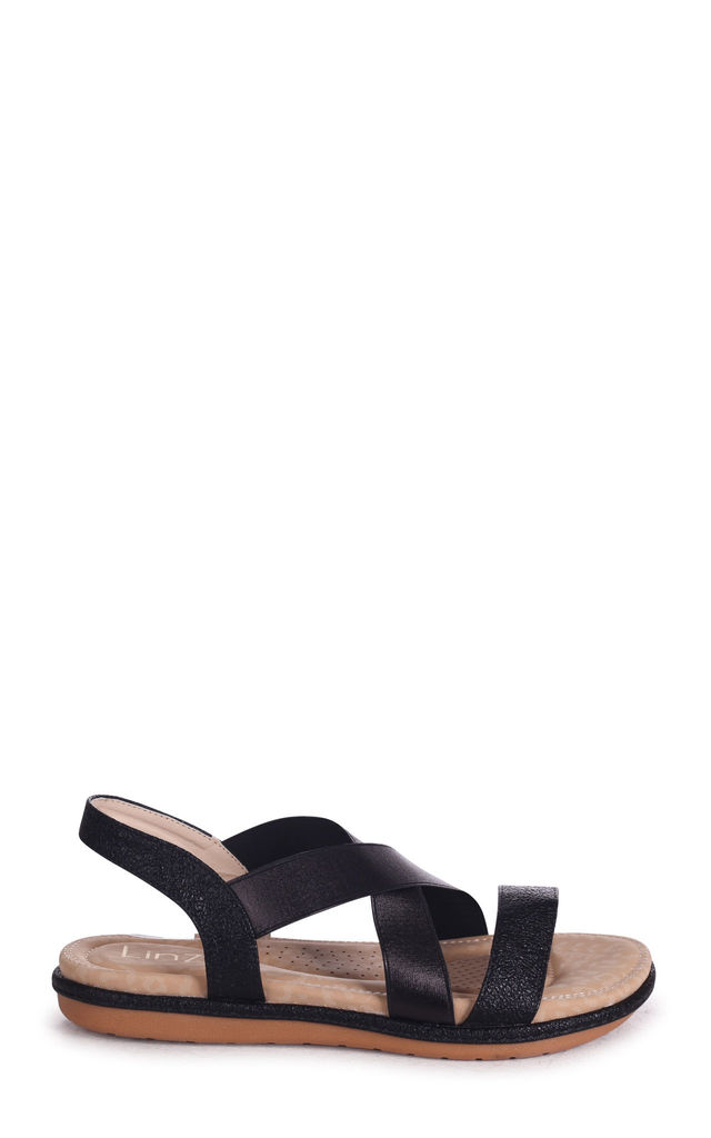 Cosmo Black Elasticated Sandal With Padded Footbed by Linzi