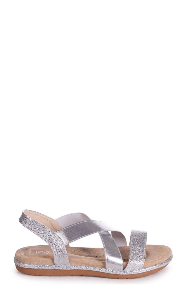 Cosmo Silver Elasticated Sandal With Padded Footbed by Linzi
