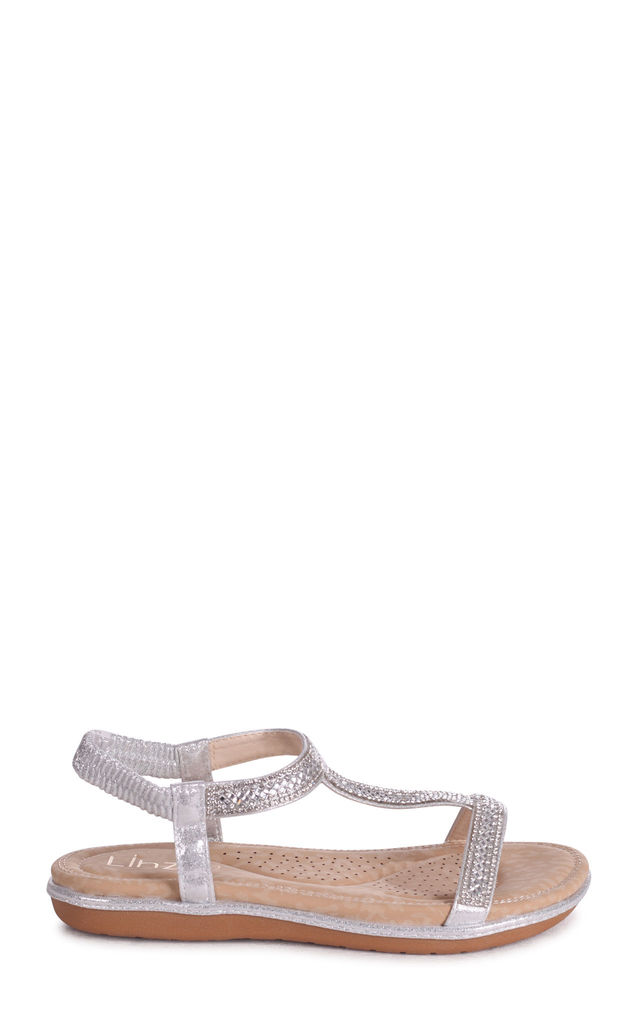 Charline Silver Sandal With Padded Footbed & Diamante T-Bar by Linzi