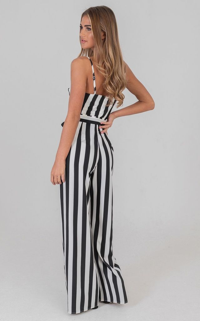 Deep V Neck Stripe Plunge Jumpsuit Black by Saint Genies