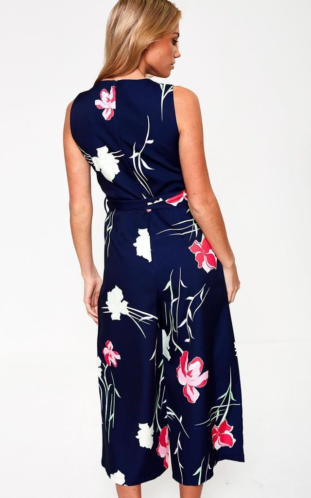 Floral Print Culotte Jumpsuit in Navy by Marc Angelo