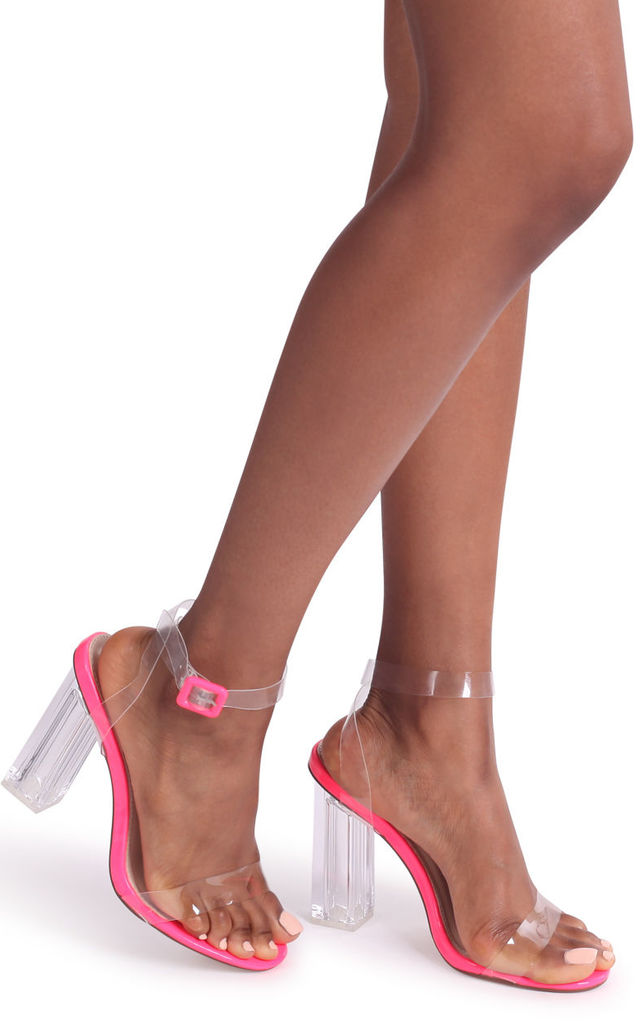 Joslin Pink Patent All Over Perspex Heel With Glass Block Heel by Linzi
