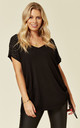 V Neck Short Sleeve Knit Jumper with Bling Shoulder Details in Black by Malissa J Collection