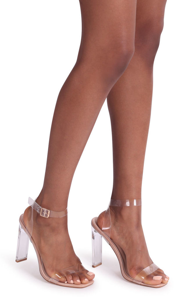 Evie Nude Patent All Over Perspex Slim Heeled Sandal With Square Toe by Linzi