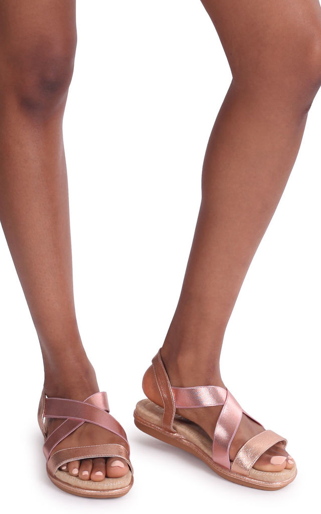 Cosmo Rose Gold Elasticated Sandal With Padded Footbed by Linzi