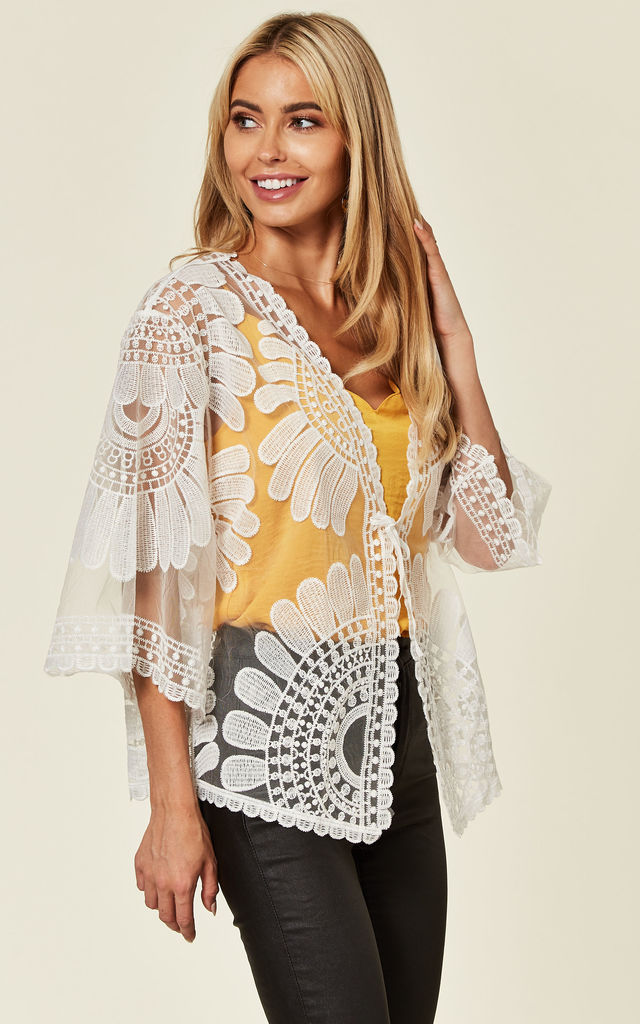 Embroidered Kimono Style Jacket with 3/4 Sleeves in White by Malissa J Collection