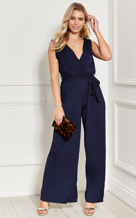 PLEATED sleeveless tie waist JUMPSUIT in navy blue by Bella and Blue