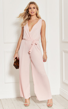 Pleated Sleeveless Tie Waist Jumpsuit In Pink by Bella and Blue Product photo