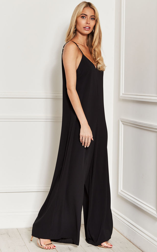 Strappy WIDE LEG JUMPSUIT in black by Bella and Blue