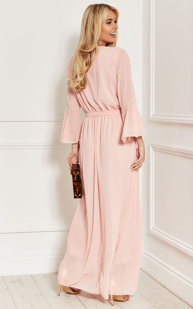 BELL SLEEVE MAXI DRESS in pink by Bella and Blue