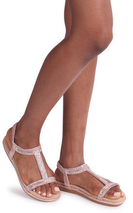 Charline Rose Gold Sandal With Padded Footbed & Diamante T-Bar by Linzi