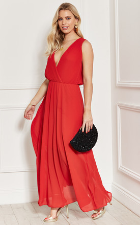 Plunge Chiffon Maxi Dress With Pleated Wrap Top In Red by Bella and Blue Product photo