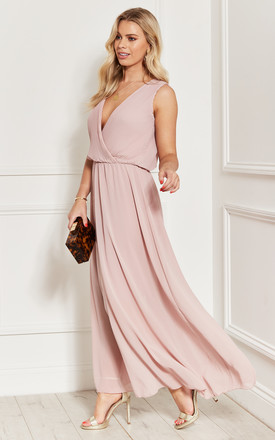 Plunge Chiffon Maxi Dress With Pleated Wrap Top In Pink by Bella and Blue Product photo