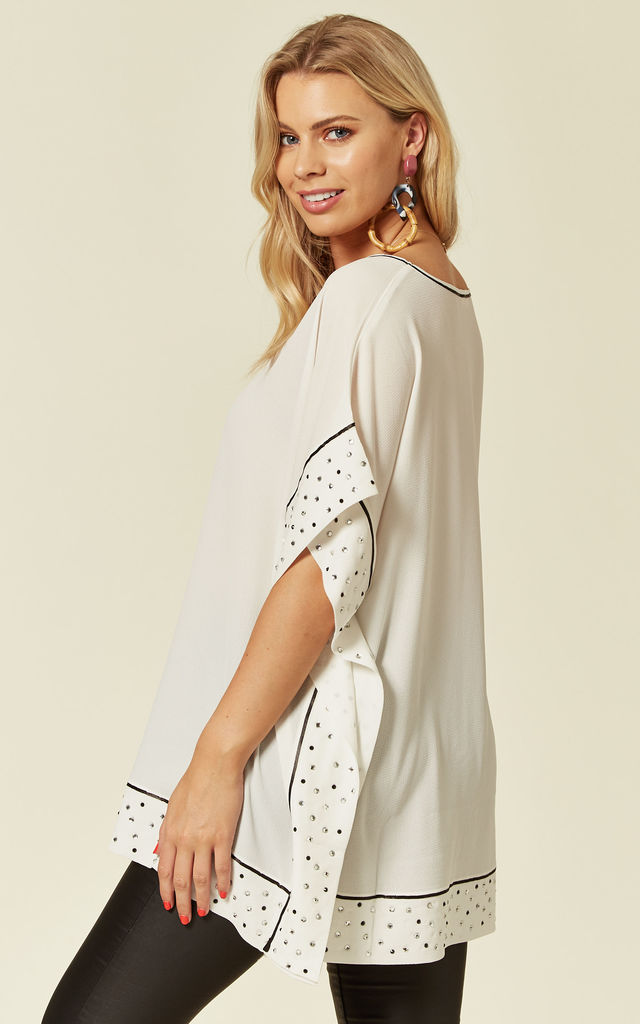 Embellished Square Shape Chiffon Top in Ivory/Black by Malissa J Collection